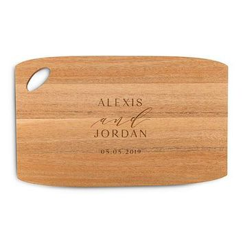 Personalized Wooden Cutting and Serving Board with Oval Handle - Signature Script (Pack of 1)