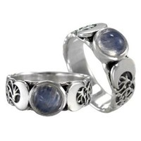 Triple Crescent Moon Goddess Rainbow Moonstone Ring Sterling Silver Wicca Pagan Jewelry (sz 4-15): Jewelry: Amazon.com