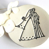 Just Married Plate Ceramic Ring Holder Eco Friendly Pottery