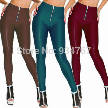 HOT SEXY! Women's Faux Leather Leggings Fashion Zip Up Patchwork Legging High-Waist Elastic Zipper Black Skinny S-XXL LLFP