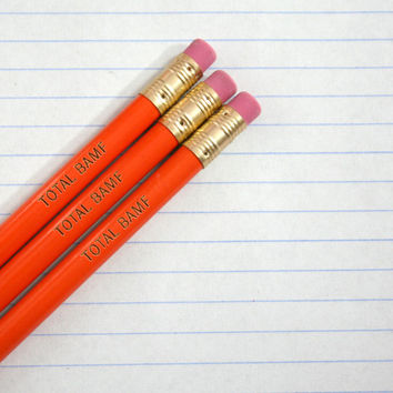 total bamf engraved pencil set 3 pencils in orange
