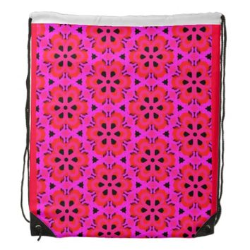 Bright Pink Starflower Backpack by KCS
