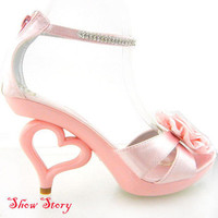 Vogue Baby Pink Flower Diamante Heart Heels Sandals US Sz 4/5/6/7/8/8.5