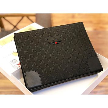 GUCCI New fashion more letter leather handbag cosmetic bag file Package Black