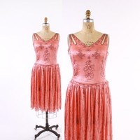 Vintage 20s BEADED DRESS / 1920s Salmon Pink Silk Beaded Floral Flapper Dress