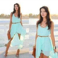 COWGIRL GYPSY Mint Green Sleeveless Chiffon Hi Lo Hemline Western Maxi Dress