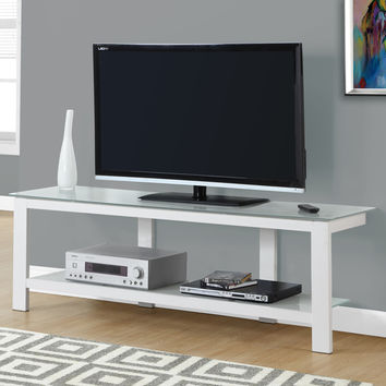 "Tv Stand - 60""L / White Metal With Frosted Tempered Glass"