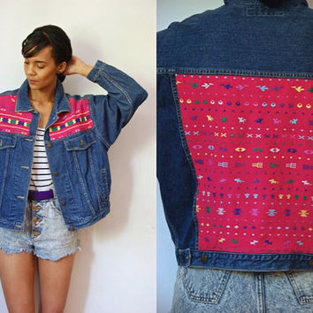 Vtg Tribal Stitched Blue Denim Button Up Jacket