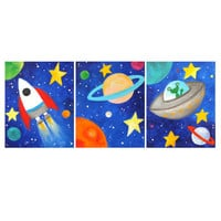 Kids Wall Art PRINTS, Three Space Themed 8x10's, Soler System Decor