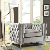 Da Vinci Velvet Modern Contemporary Button Tufted with Silver Nailhead Trim Silvertone Metal Y-leg Club Chair, Silver