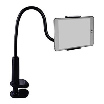 Gooseneck Tablet Stand, Tablet Mount Holder for iPad iPhone Series/ Nintendo Switch/ Samsung Galaxy Tabs/ Amazon Kindle Fire HD and more, 30in Overall Length(Black)