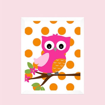 Instant Download Set of 4 Alphabet Numbers Owls hot pink orange pink Prints nursery decor nursery baby room decor kids instant download 8x10