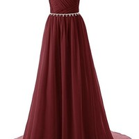 Fashion Burgundy A-line Beaded Chiffon Prom Dress SU003