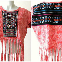 Bohemian Fringe Tshirt, Festival Clothing, Upcycled boho top with Mexican fabric, size medium