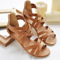 34-43plus size 2015 new women's bohemian cross straps flat shoes large size Roman back zip sandals 4color [8295306183]