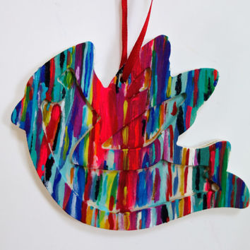Hand Painted Neon Abstract Dove Ornament