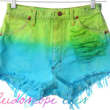 Vintage Wrangler High Waist COLORFUL OMBRE Dip Dyed Denim Cut Off Shorts M