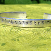 "Marilyn Monroe Quote ""We are all stars and we all deserve to twinkle."" Silver Toned  Hand Stamped Bracelet"
