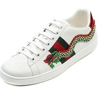 Wiberlux Gucci Women's Dragon Patch Detail Lace-Up Real Leather Sneakers