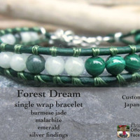 Forest Dream Handmade Single Wrap Leather and Gemstone Japanese Powerstone Earth Nature Bracelet Jewelry - Jade - Malachite - Emerald