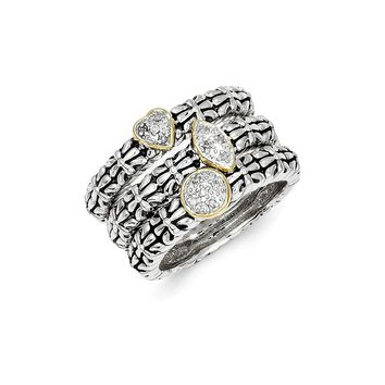 Antique Style Sterling Silver with 14k Gold 1/20ct. Diamond 3 Stackable Rings