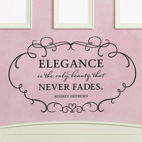 "Wall Vinyl Quote - ""Elegance is the only beauty that never fades"" - Audrey Hepburn (36""x 22"")"