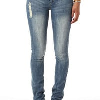Jayden Low-Rise Double Button Skinny Jean Marble Wash