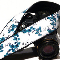 dSLR Camera Strap. Floral Camera Strap. White Black Teal Camera Strap. Camera Accessories