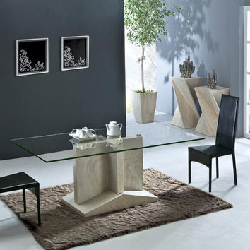 Health Travertine Dining Table Set Luxury High Quality Natural Stone Marble Dining Furniture Rectangle Table NB-171