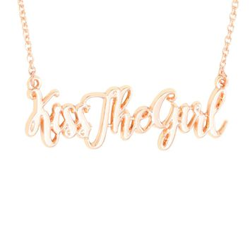 Licensed cool Disney Ariel Little Mermaid KISS THE GIRL Cursive Name Plate Gold Tone Necklace