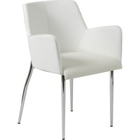 Sunny Arm Dining Chair White & Chrome Legs (Set of 2)