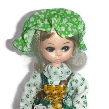 Vintage Irish Girl, St Patricks Day Doll Big Eyed Girl Bradley Doll, Korea, Little Bo Peep Peasant Girl, New w Tag Doll Collectible Toy Gift