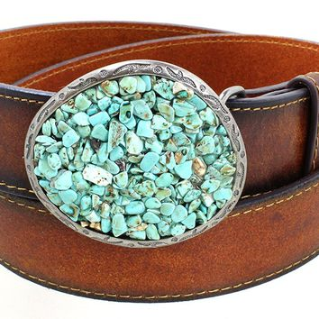 Women's Turquoise Pebble Big Western Belt Buckle Aged Finish Genuine Leather Belt