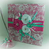 Lace Wedding Guest Book and Pen, Fuchsia and Aquamarine Roses, Personalized Guest Book, Wedding Sign In Book, Summer Wedding