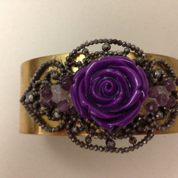 Handmade Brass Cuff with Antique Steel Belt Buckle and Purple Lucite Rose