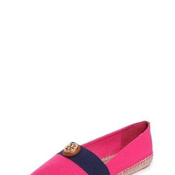 Tory Burch Beacher Flat Espadrille Canvas Shoes Size 7.5 Pink/navy/tan