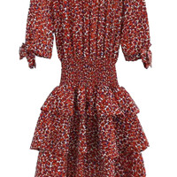 Red Off Shoulder Bowknot Cuff Leopard Layered Ruffle Dress