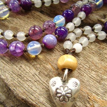 Karen Hill Tribe Silver Heart ~ Moon Stone ~ Purple Dragon Vein Agate ~ White Quartz 108 Mala Love Bead Necklace Positive Energy Healing