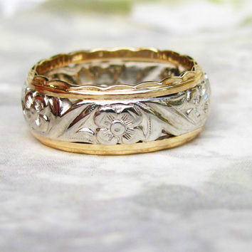 Vintage Orange Blossom Wide Wedding Band 14K Two Tone Gold Floral Design Ladies Wedding Ring Gold Stacking Ring Size 6.5