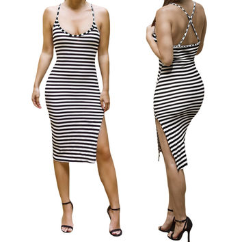 Striped Spaghetti Strap Backless Bodycon Slit Midi Dress