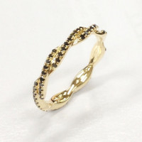 Black Diamond Wedding Band Eternity Anniversary Ring 14K Yellow Gold Unique Curved Double twist