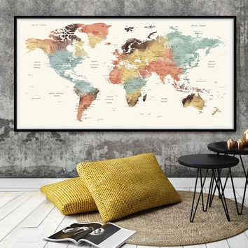 Adventure Awaits World Map, Push Pin World Map, Map pushpin, Watercolor push pin map, Large World Map Poster, map of world -L65