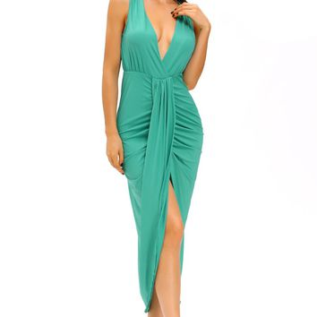 Chicloth Green Draped Slit Front Maxi Dress