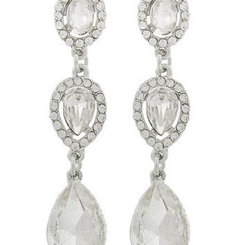 "Beautiful Clear Crystal Rhinestone Teardrop and Oval Cut Stones on 2"" Dangle Silver Tone Earrings"