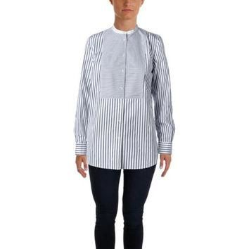 Lauren Ralph Lauren Womens Plus Striped Button-Down Tunic Top