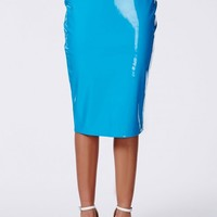 Missguided - Mircia Blue PVC Midi Skirt