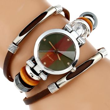 New Genuine Leather Watch Women Triple Bracelet Wristwatch Italian Style Green Coffe Stripes Fashion Reloj Para Dama Watch