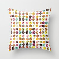 Eat all the donuts Throw Pillow by Estef Azevedo