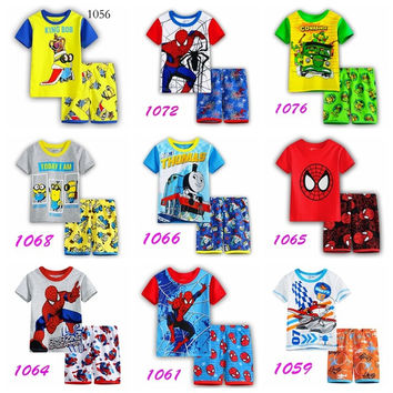 2016 Children Pyjamas Set Batman Spiderman Superman Minions Pajamas for Boys Short Sleeve Kids Sleepwear Baby Pajama Set
