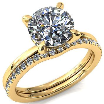 Rosy Round Moissanite 4 Claw Prong Single Rail 3/4 Micropave Engagement Ring